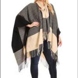 Poncho With Scarf Attached